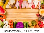 table full of all kinds of food ... | Shutterstock . vector #414742945