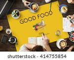 good food good mood eating... | Shutterstock . vector #414755854