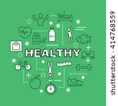 healthy minimal outline icons ... | Shutterstock .eps vector #414768559