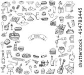 hand drawn doodle picnic icons... | Shutterstock .eps vector #414783445