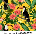 Tropical Birds And Palm Leaves...