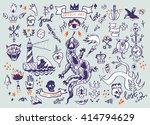 big vector set of hand drawn... | Shutterstock .eps vector #414794629