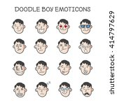 vector cute doodle boy heads... | Shutterstock .eps vector #414797629