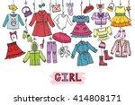 girl fashion wear hanging on... | Shutterstock .eps vector #414808171