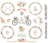 vintage hand drawn floral...   Shutterstock .eps vector #414813307