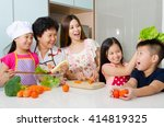kitchen lifestyle of asian... | Shutterstock . vector #414819325