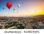 hot air balloons flying over... | Shutterstock . vector #414819691
