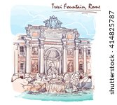 Trevi Fountain In Rome  Italy....