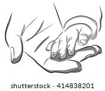a woman holding a baby hand ... | Shutterstock .eps vector #414838201
