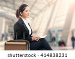 business traveler waiting with... | Shutterstock . vector #414838231