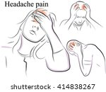 migraine and headache pain.... | Shutterstock .eps vector #414838267