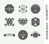 set of gym logos  labels and... | Shutterstock .eps vector #414838777