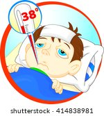 sick boy in bed with symptoms... | Shutterstock .eps vector #414838981