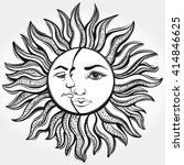 bohemian sun and moon. tattoo... | Shutterstock .eps vector #414846625