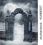 Gothic Cemetery Gate Covered...