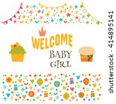welcome baby girl. baby girl...   Shutterstock .eps vector #414895141