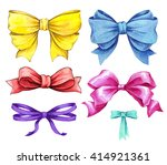 set ribbon and bow watercolor... | Shutterstock . vector #414921361