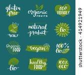 vector eco  organic  bio logos... | Shutterstock .eps vector #414921949