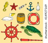 nautical hand drawn vector set. ... | Shutterstock .eps vector #414927169