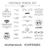 vintage poker labels. | Shutterstock .eps vector #414934681
