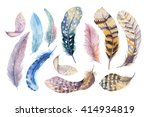 Stock photo hand drawn watercolor paintings vibrant feather set boho style wings illustration isolated on 414934819