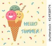 ice cream emoji illustration... | Shutterstock .eps vector #414938974