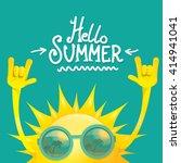 hello summer rock n roll poster.... | Shutterstock .eps vector #414941041