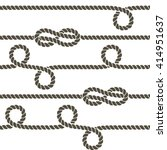 navy rope with marine knots...   Shutterstock .eps vector #414951637