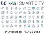 set vector line icons in flat... | Shutterstock .eps vector #414961465