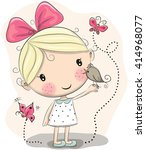 cute cartoon girl with bird and ... | Shutterstock .eps vector #414968077