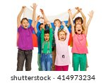 seven kids with flag of russian ...   Shutterstock . vector #414973234