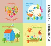four square garden icon set... | Shutterstock .eps vector #414978085