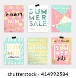 summer hand drawn calligraphyc...   Shutterstock .eps vector #414992584