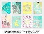 summer hand drawn calligraphyc... | Shutterstock .eps vector #414992644