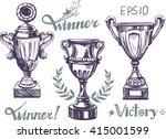 cup winner set. sketch. vector | Shutterstock .eps vector #415001599
