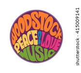 hippie style love and music... | Shutterstock .eps vector #415009141