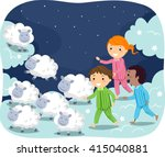 stickman illustration of kids... | Shutterstock .eps vector #415040881