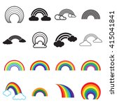 Black And Colored Rainbow Icon...