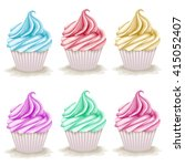 set of hand drawn cupcakes.... | Shutterstock . vector #415052407