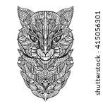 cat black white. zen art.... | Shutterstock .eps vector #415056301