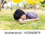 asian smiling little girl lying ... | Shutterstock . vector #415060879