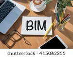 bim open book on table and... | Shutterstock . vector #415062355