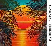 beautiful beach sunset... | Shutterstock .eps vector #415085041