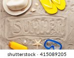 on the sand inscription summer. ... | Shutterstock . vector #415089205
