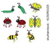 beetles smile  ladybug  wasp ...   Shutterstock . vector #415090105