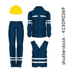 set of protective wear  shoes... | Shutterstock .eps vector #415090369