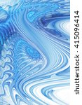 Abstract Fantasy Blue Waves On...