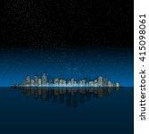 night modern city on the ocean. ... | Shutterstock .eps vector #415098061
