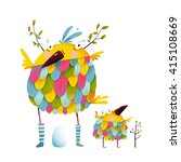 funny bird family mother and... | Shutterstock .eps vector #415108669