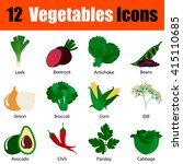 flat design vegetables icon set ...